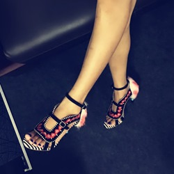 Shoespie Vintage Embroidery and Stripes Heel Sandals