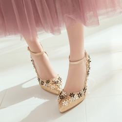Shoespie Sweet Lace-up Metal Buckles Ankle Wrap Flower Appliqued Stiletto Heels
