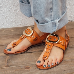 Shoespie Metal Buckles Gladiator Sandals