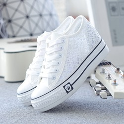 Shoespie Reticular Cutout Low Hidden Wedge Canvas Shoes