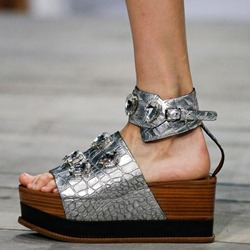 Shoespie Silver Open Toe Rhinestone Wooden Platform Sandals
