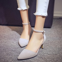 Shoespie Pointed Ankle Wrap Shallow mouth Metal Buckles Low Heels