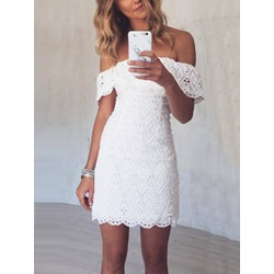 Shoespie White Off Shoulder Lace Bodycon Dress