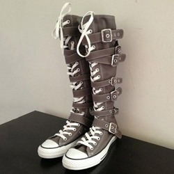 Shoespie Lace Up Buckles Women's Sneaker Boots