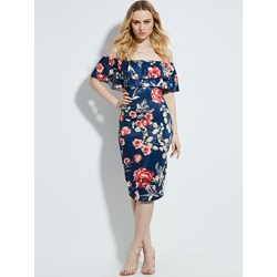 Slash Neck Floral Print Mid-Calf Women's Pencil Dress