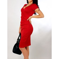 Shoespie Pleated V-Neck Short Sleeve Knee-Length Bodycon Dress