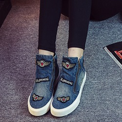 Shoespie Denim Side Zipper Flatform Canvas Shoes