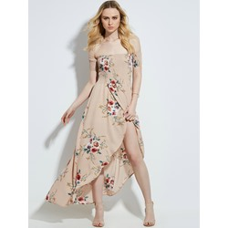 Slash Neck Floral Print Women's Maxi Dress