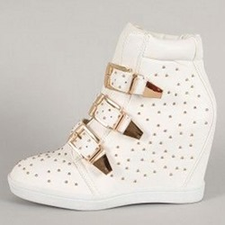 Shoespie Rivets Buckle Elevator Heel Sneakers