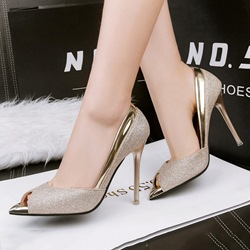 Shoespie Luminous Paillette Peep Toe Stiletto Heels