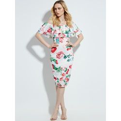 Slash Neck Floral Print Women's Pencil Dress