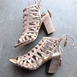 Shoespie Hollow Tassel Chunky Heel Sandals