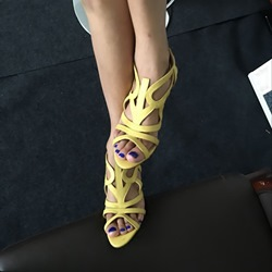 Shoespie Yellow Cutout Cone Heel Sandals