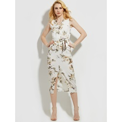 V-Neck Flower Print Sleeveless Women's Day Dress