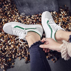 Shoespie Lace-up Flat Pattern Sneaker