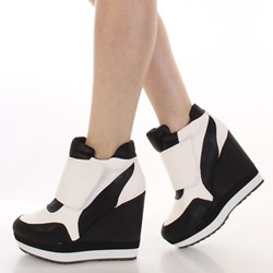Shoespie Color Block Velcro Wedge Heel Sneakers