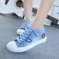 Shospie Denim Pattern Canvas Shoes
