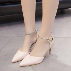 Shoespie Pointed Ankle-Wrap Metal Buckles Low Heels