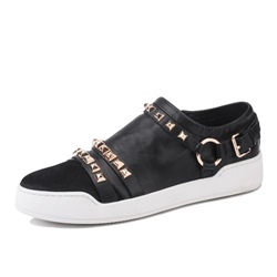 Shoespie Black Square Rivets Slip On Men's Casuals