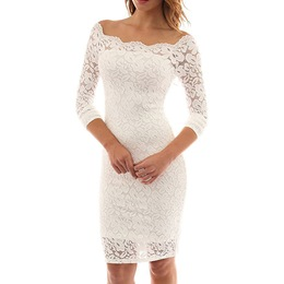 Shoespie Slash Neck Hollow Wedding Backless Lace Bodycon Dress