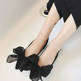 Shoespie Pointed Bowtie Metal Buckles Naked Shallow mouth Low Heels