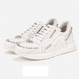 Shoespie Solid Color Spikes Men's Fashion Sneakers