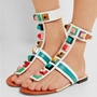 Shoespie Bright Colorful Thong Square Rivets Flat Sandals