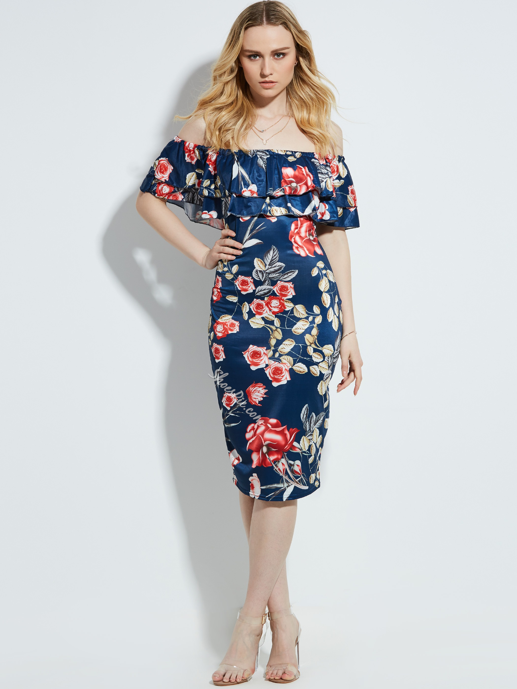 Shoespie Slash Neck Floral Print Mid-Calf Women's Pencil Dress