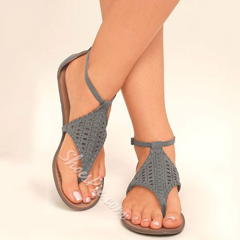 Shoespie Gray Thong Braided Flat Gladiator Sandals