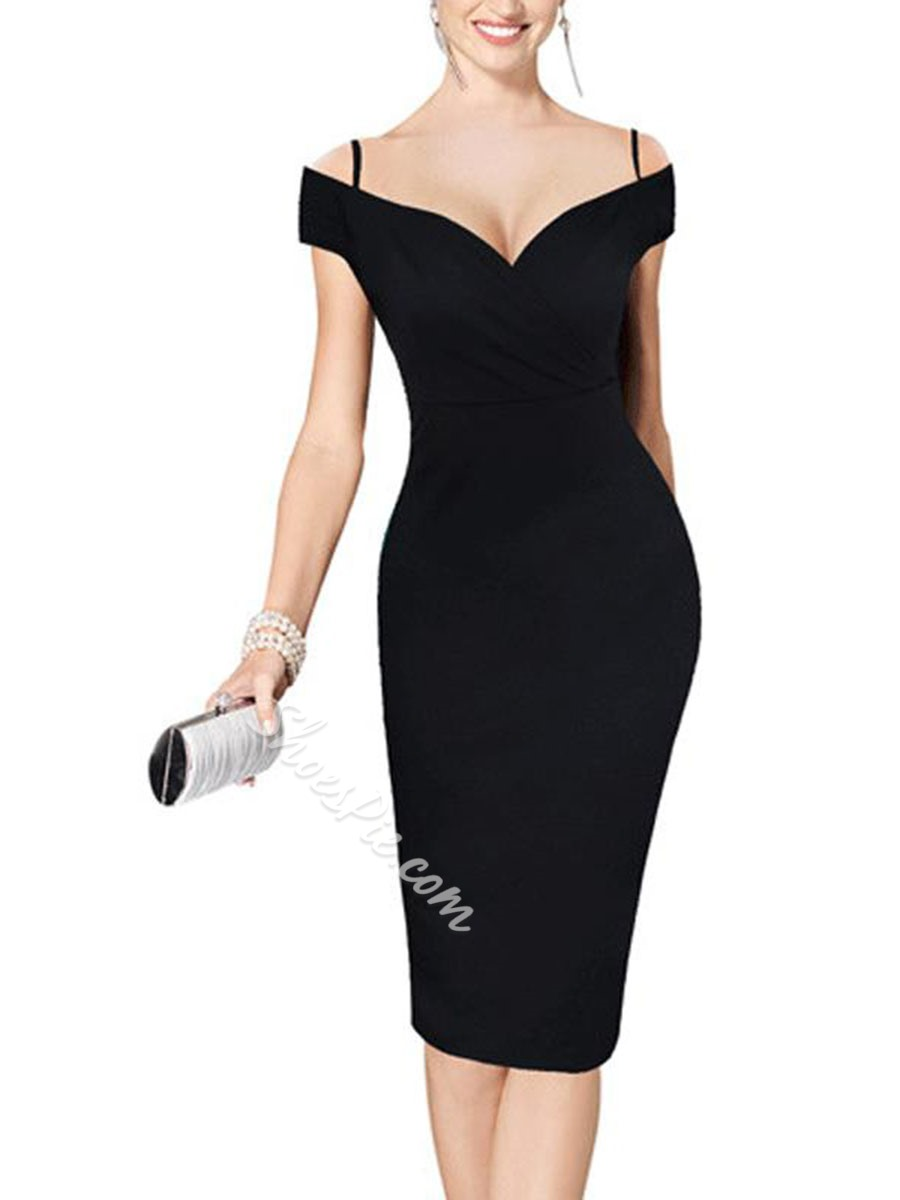 Shoespie V-Neck Pencil Print Spaghetti Strap Bodycon Dress