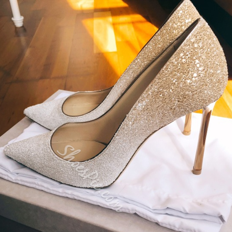 Shoespie Glitter Pointed Toe Slip-On Banquet Stiletto Heel