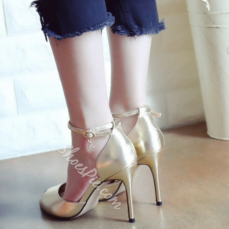 Shoespie Line-Style Buckle Banquet Peep Toe Stiletto Heel