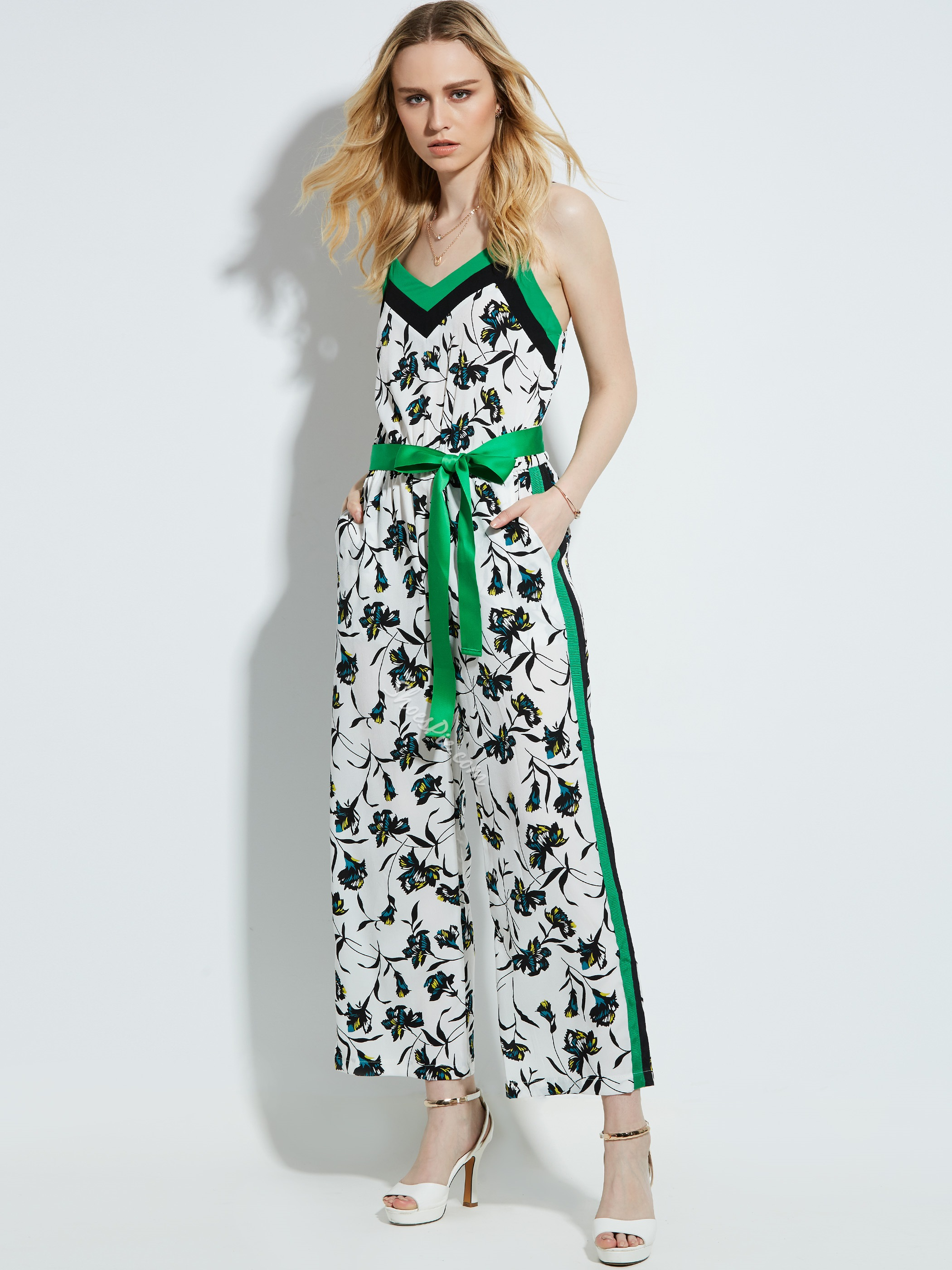 Slim Flower Print Straight Jumpsuit