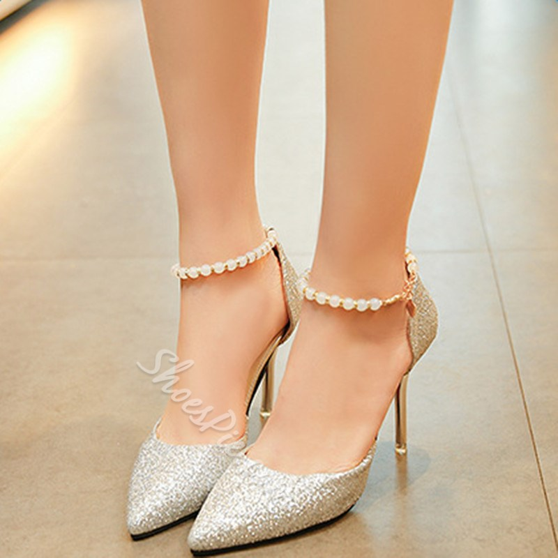 Shoespie Pointed Paillette Bead Stiletto Heels