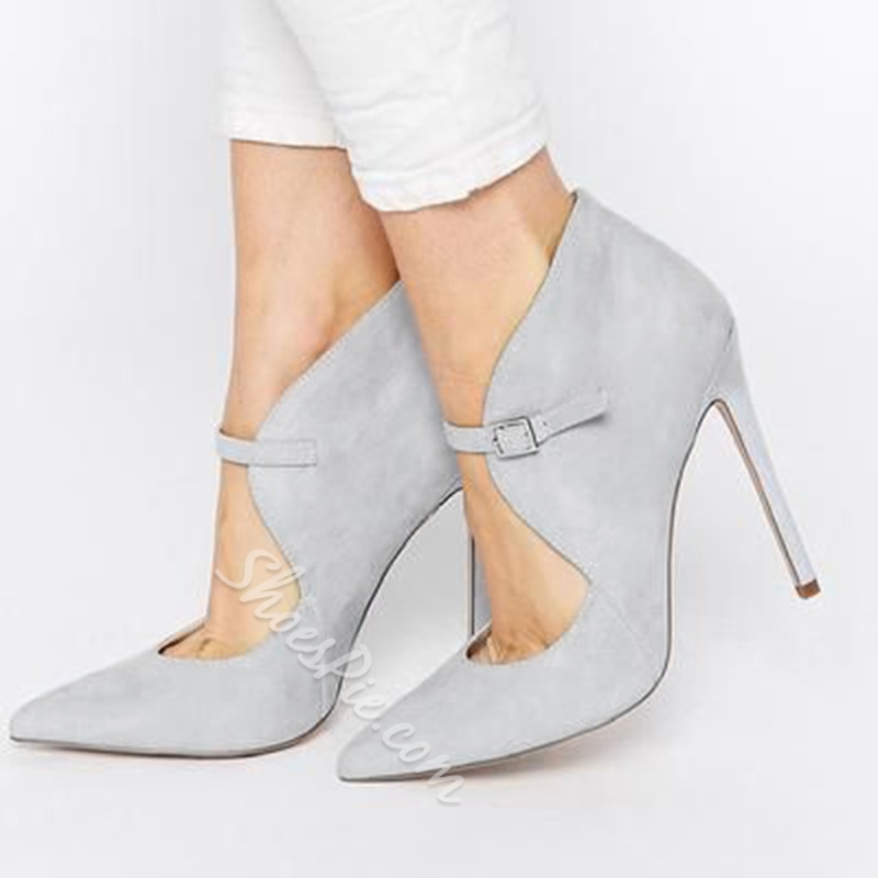Shoespie Grey Suede Ankle Wrap Stiletto Heels
