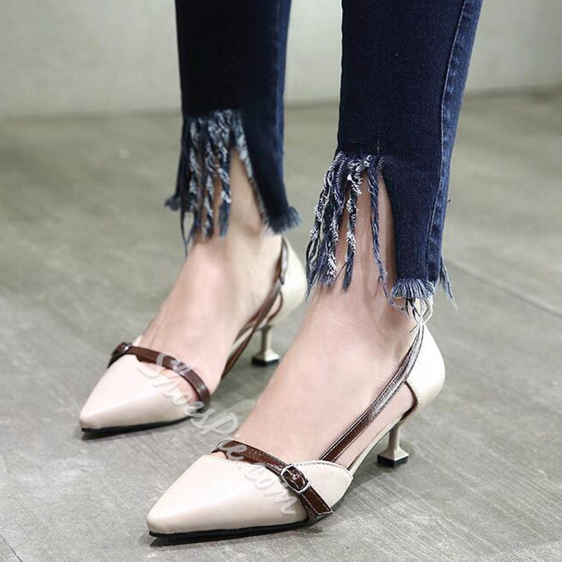 Shoespie Office lady low-fronte Color block Low Heels
