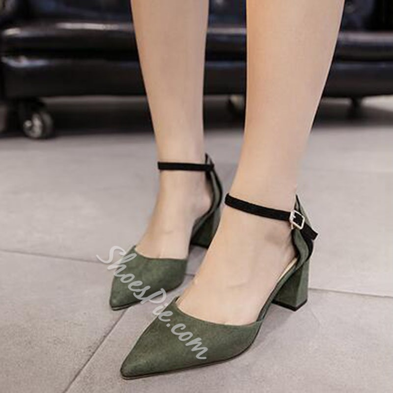 Shoespie Vintage Cuspidal Solid Lace-up Low Chunky Heels