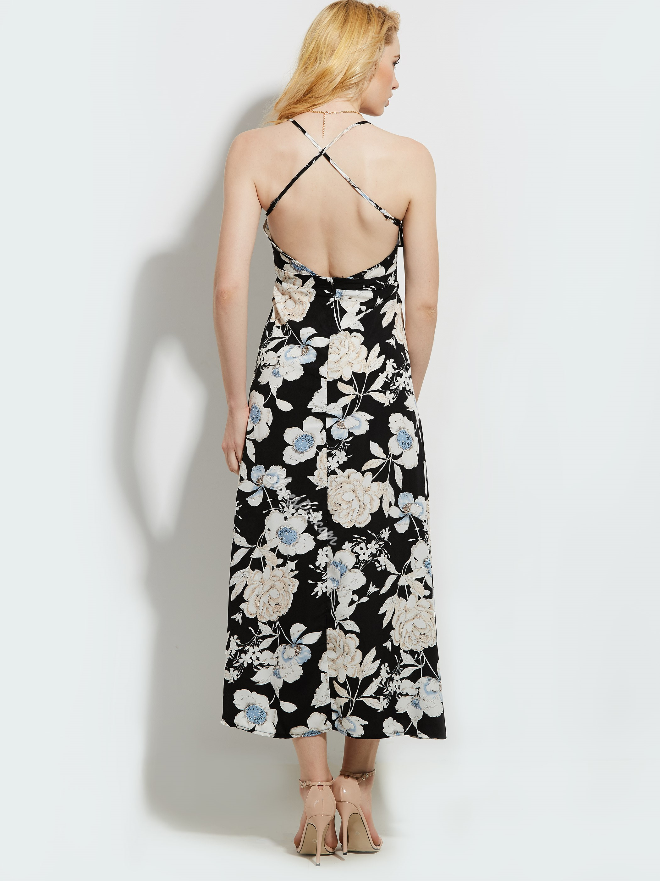 Flower Print Backless Women's Maxi Dress
