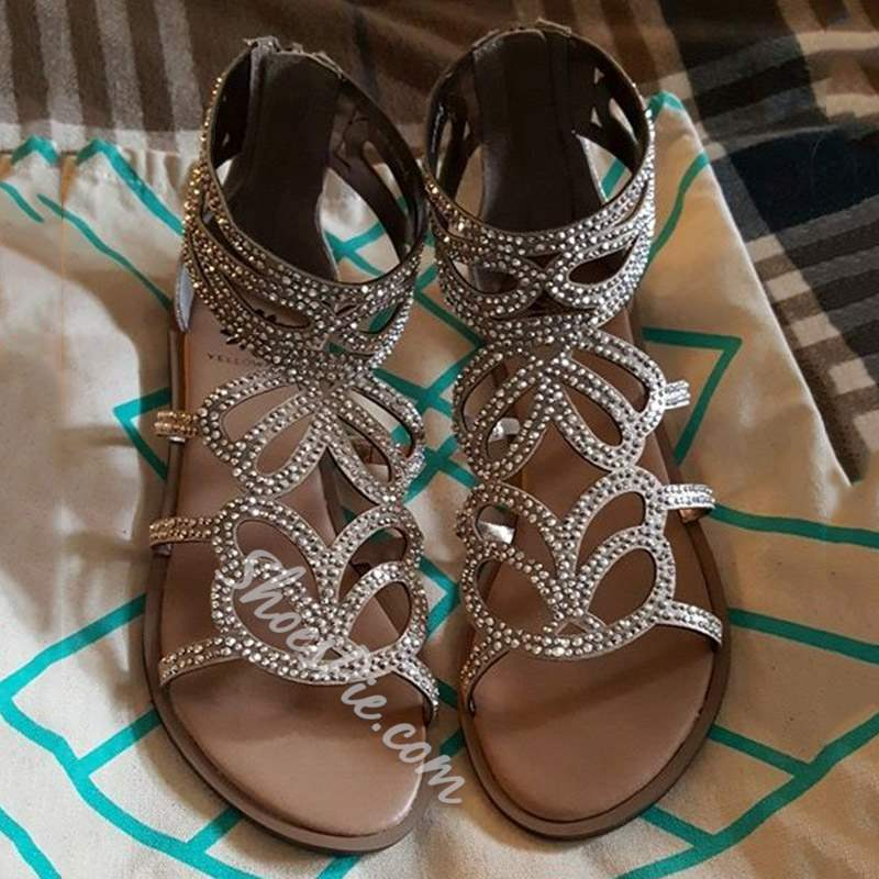 Shoespie Rhinestone Hollow Open Toe Flat Sandals