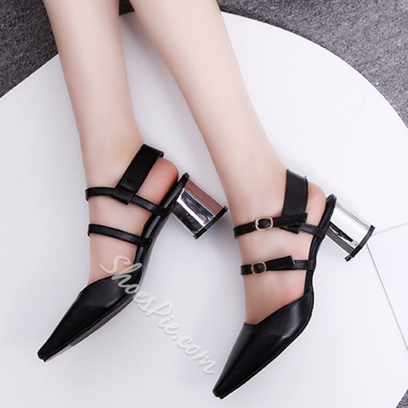 Shoespie Pointed Double Lace-up Metal Buckles Thick Low Heels