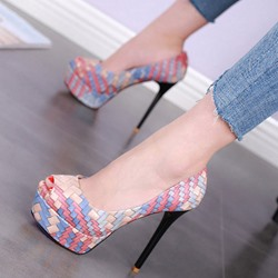Shoespie Peep-toe Check Shallow mouth Platform Heels