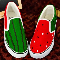 Shoespie Watermelon Print Summer Casual Canvas Shoes