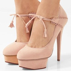 Shoespie Lace-Up Round Toe Platform Heels