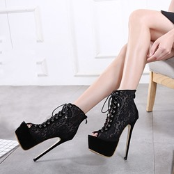 Shoespie Lace-up Cutout Peep Toe Stiletto High Heels