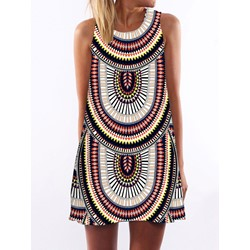 Shoespie A-Line Above Knee Sleeveless Geometric Print Dress