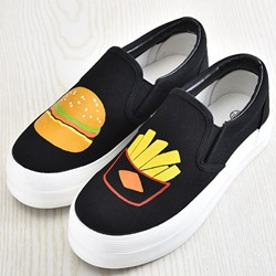 Shoespie Black Color Food Print Slip On Canvas Shoes