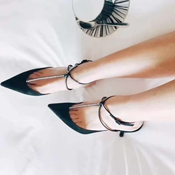 Shospie Rhinestone Pointed-toe Shallow T-Strap Low Heels