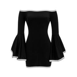 Shoespie Slash Neck Falbala Backless Flare Sleeve Bodycon Dress