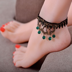 Shoespie Vintage Emerald Stone Tassel Lace Anklet for Women
