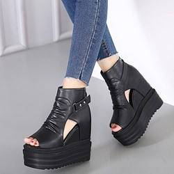 Shoespie Black Peep-toe Hidden Wedge Cutout Wedge Heels